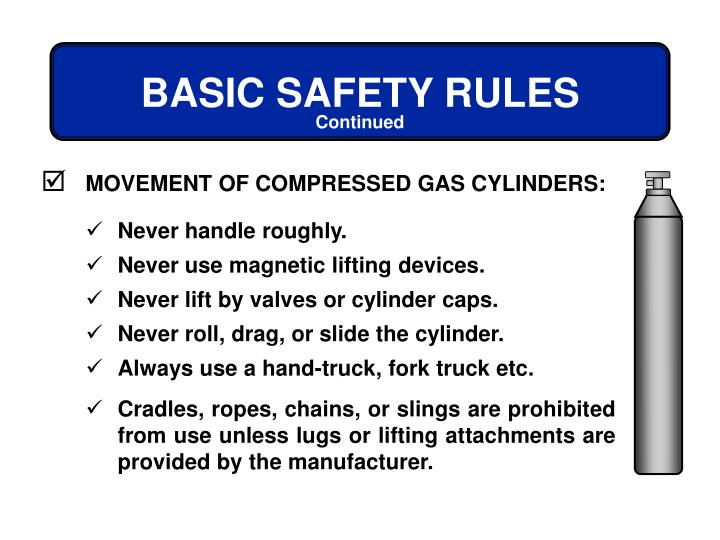 MOVEMENT OF COMPRESSED GAS CYLINDERS: