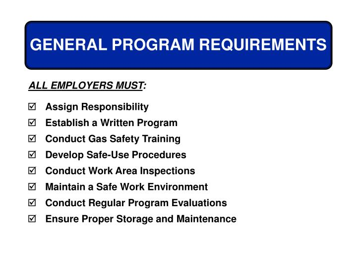 GENERAL PROGRAM REQUIREMENTS