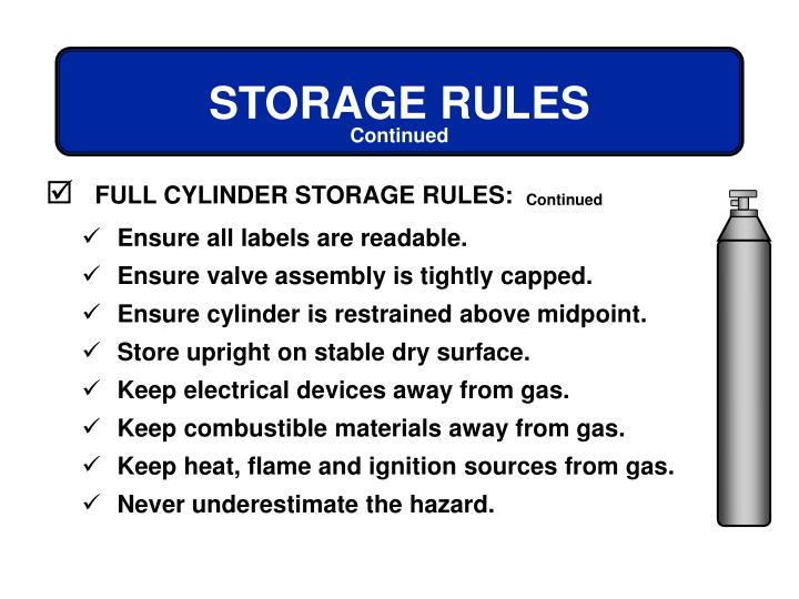 FULL CYLINDER STORAGE RULES:
