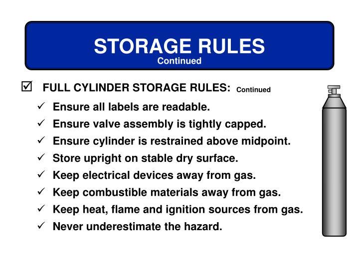 FULL CYLINDER STORAGE RULES:
