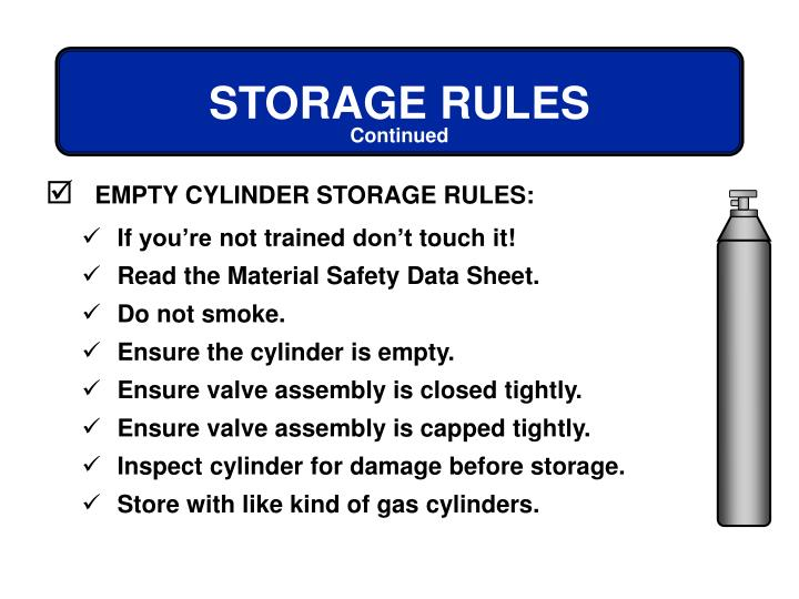 EMPTY CYLINDER STORAGE RULES: