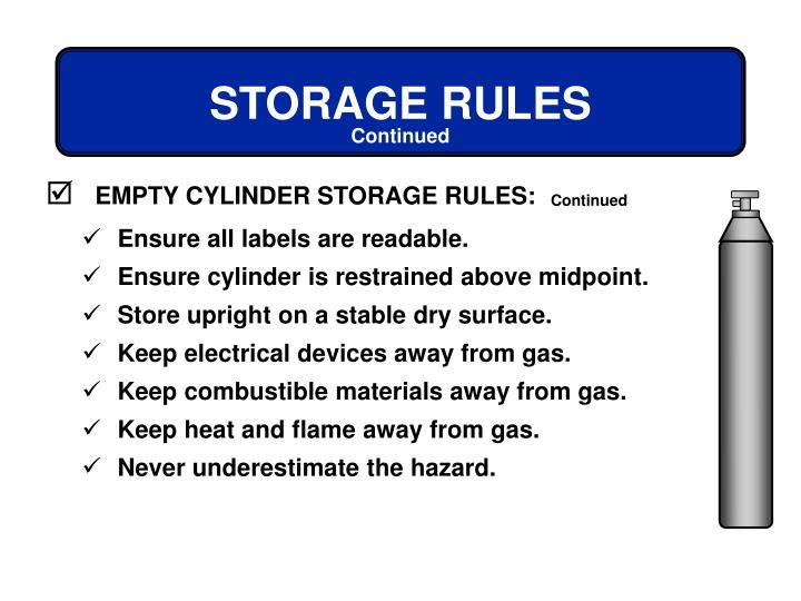 EMPTY CYLINDER STORAGE RULES: