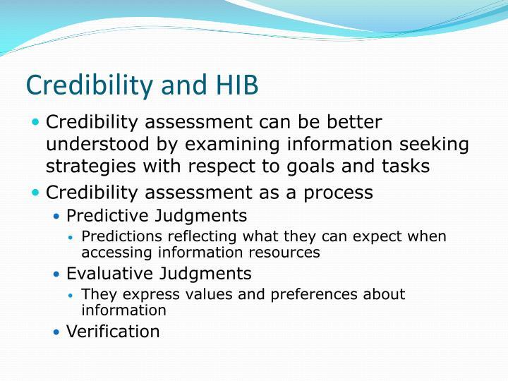 Credibility and HIB