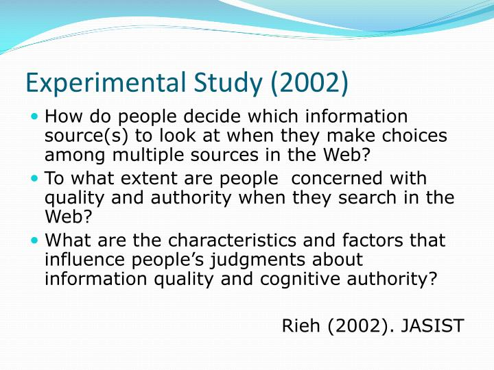 Experimental Study (2002)