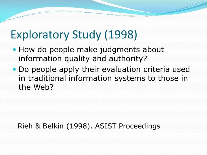 Exploratory Study (1998)