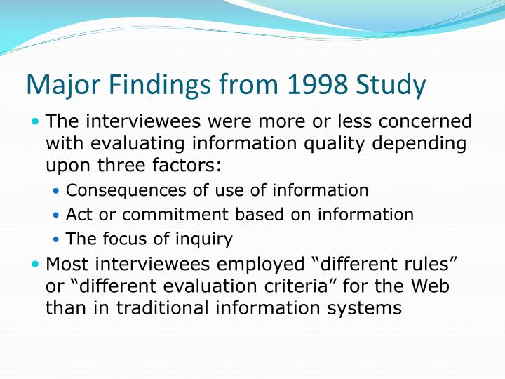 Major Findings from 1998 Study