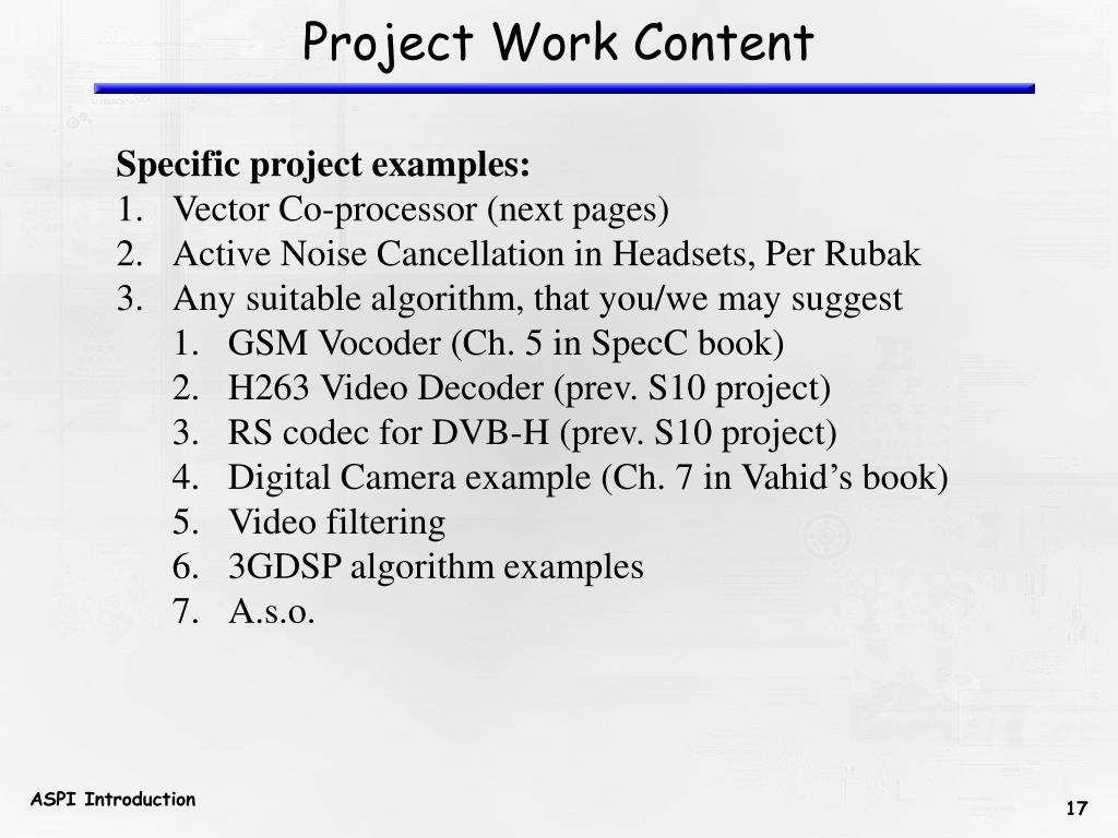 Project Work Content
