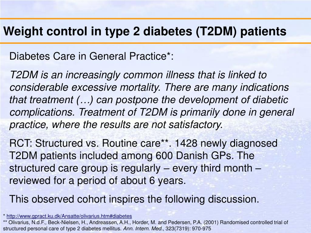 Weight control in type 2 diabetes (T2DM) patients
