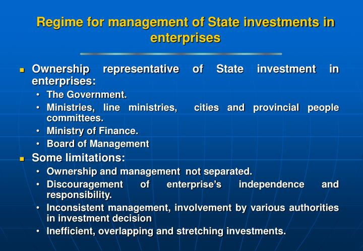 Regime for management of State investments in enterprises