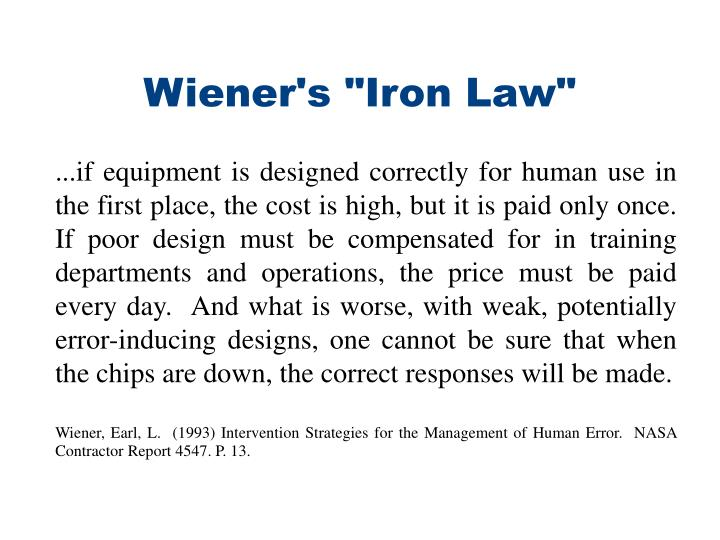 "Wiener's ""Iron Law"""