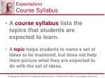 expectations course syllabus