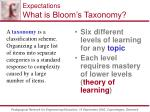 expectations what is bloom s taxonomy