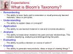 expectations what is bloom s taxonomy32