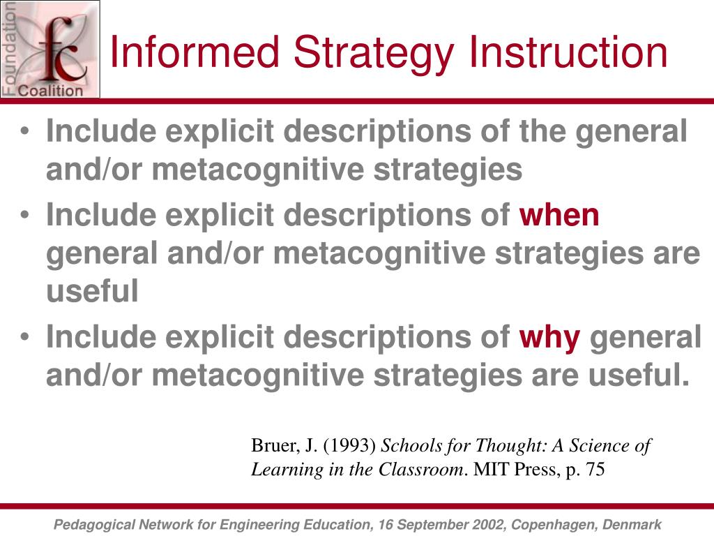 Informed Strategy Instruction