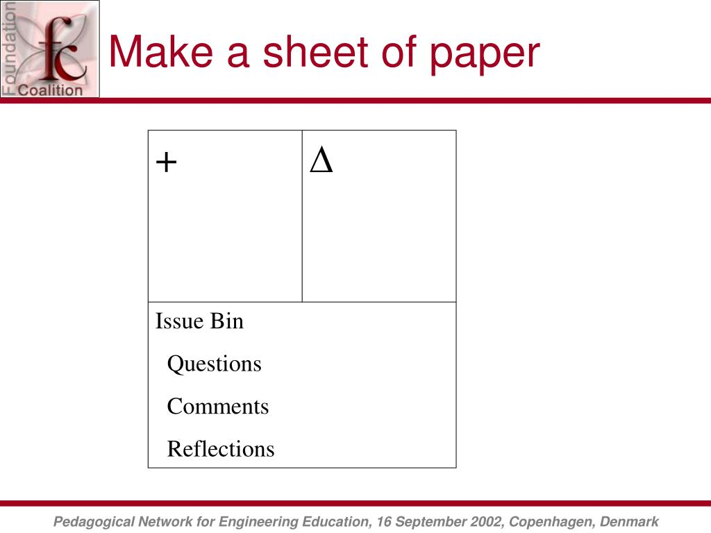 Make a sheet of paper