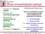 question where are participants starting