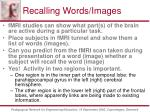 recalling words images
