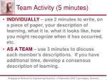 team activity 5 minutes