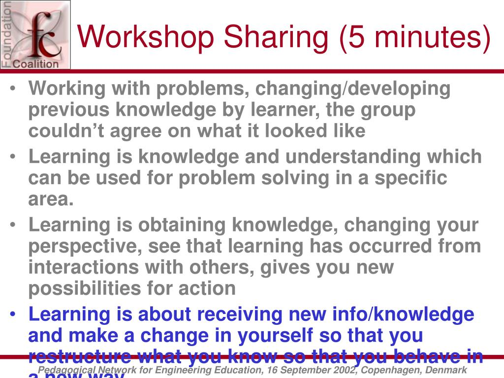 Workshop Sharing (5 minutes)