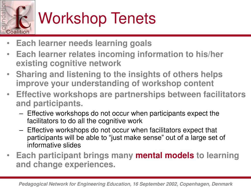 Workshop Tenets