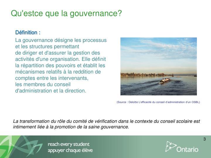 Qu'estce que la gouvernance?