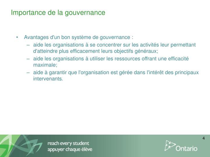 Importance de la gouvernance