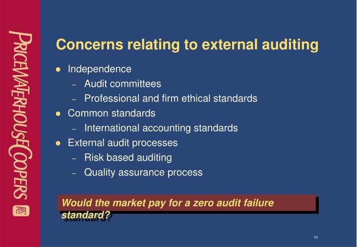 Concerns relating to external auditing