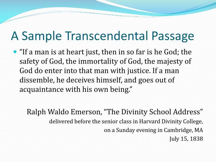A Sample Transcendental Passage