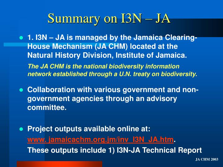 Summary on i3n ja