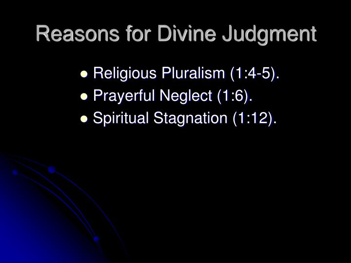 Reasons for Divine Judgment