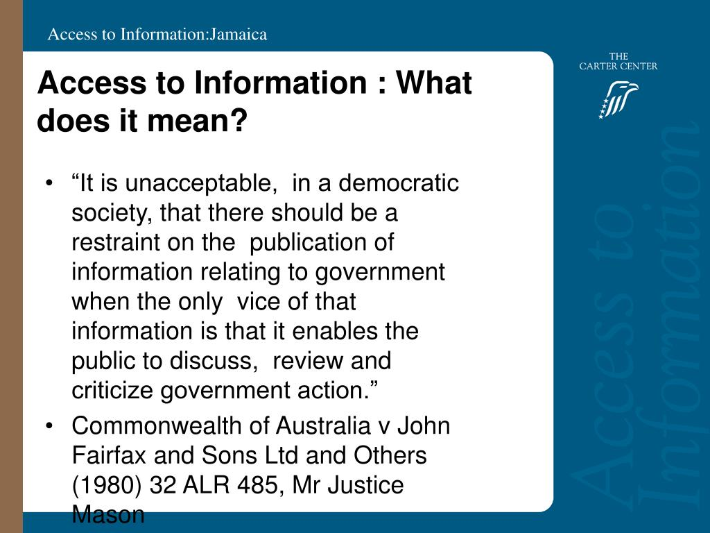 Access to Information : What does it mean?