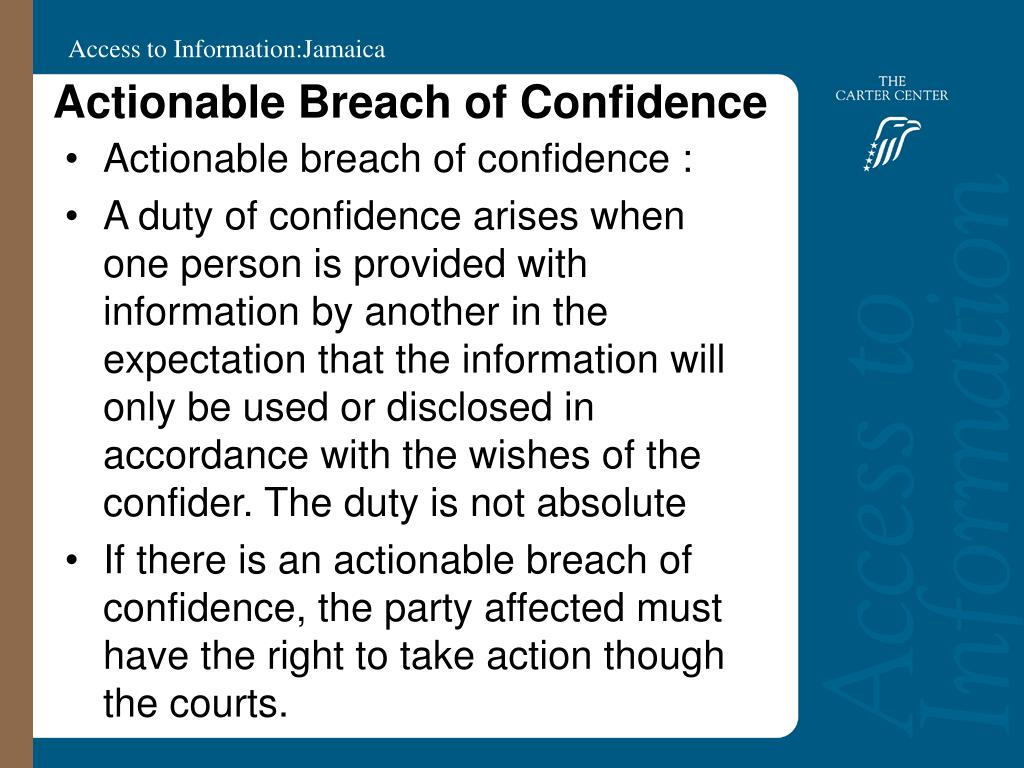Actionable Breach of Confidence