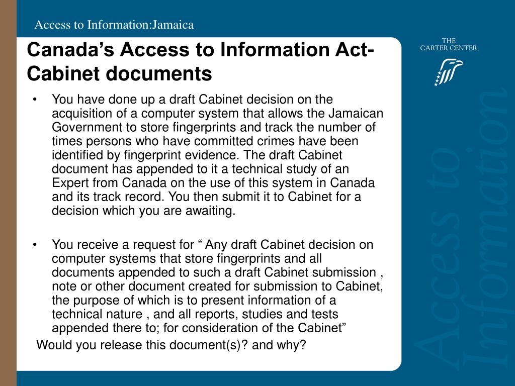 Canada's Access to Information Act-  Cabinet documents