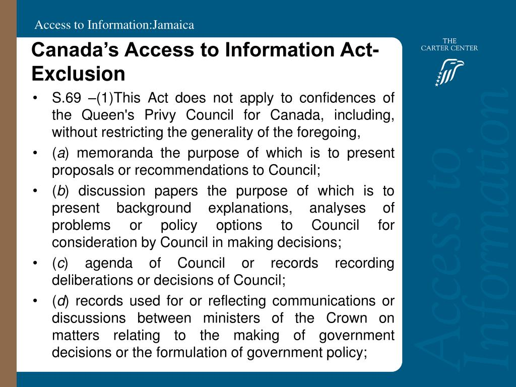 Canada's Access to Information Act- Exclusion