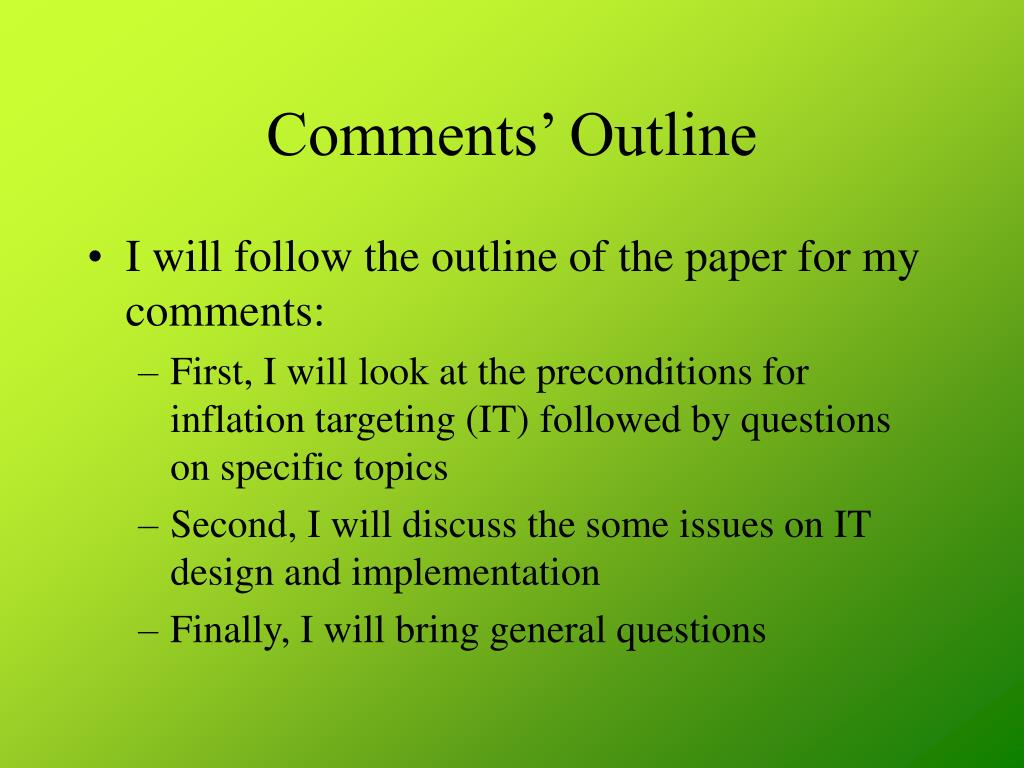 Comments' Outline