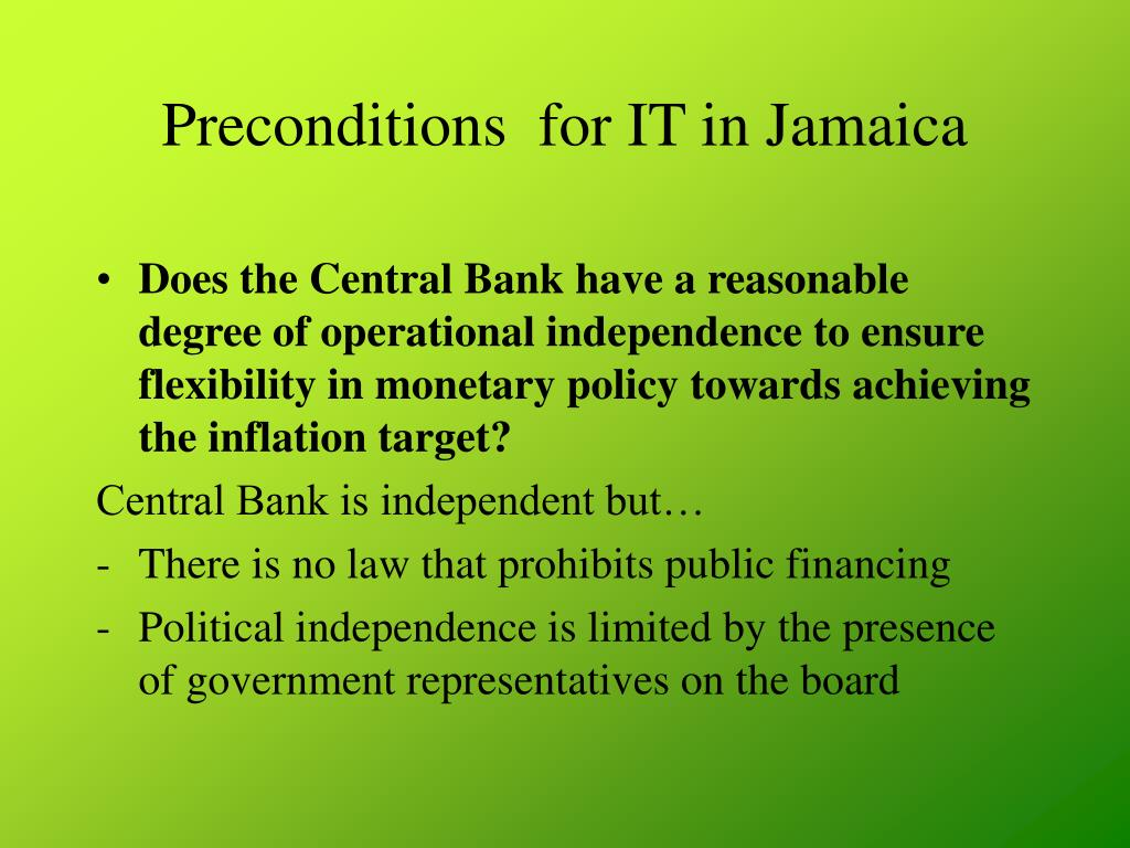 Preconditions  for IT in Jamaica