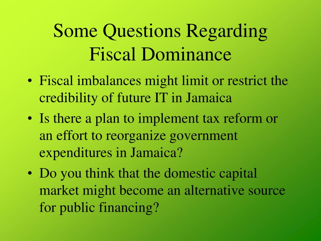 Some Questions Regarding Fiscal Dominance