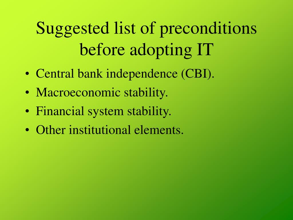 Suggested list of preconditions before adopting IT