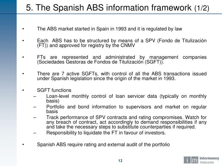 The ABS market started in Spain in 1993 and it is regulated by law