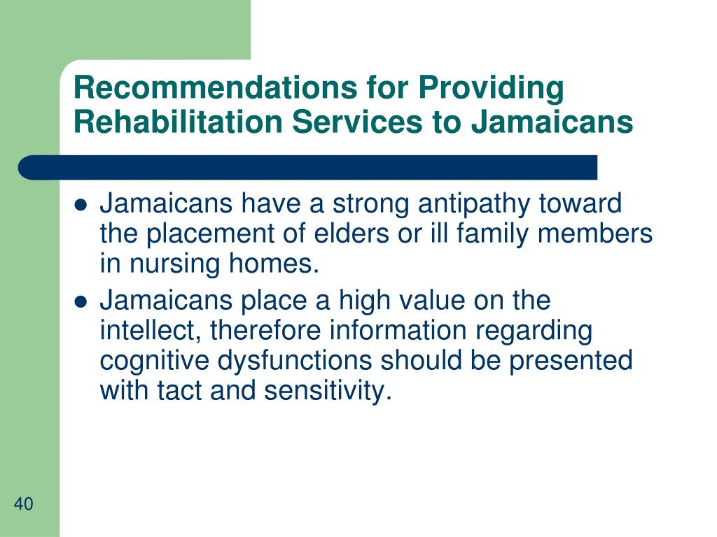 Recommendations for Providing Rehabilitation Services to Jamaicans