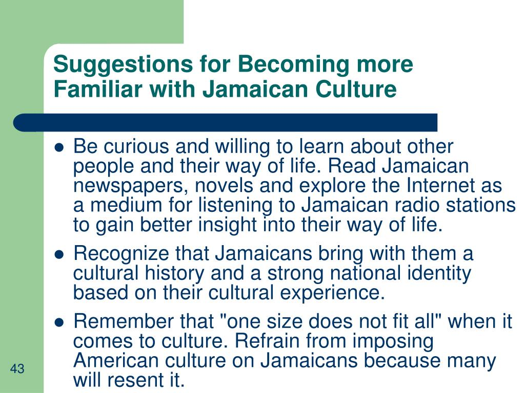 Suggestions for Becoming more Familiar with Jamaican Culture