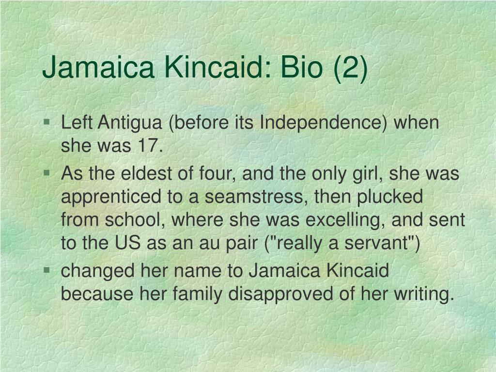 Jamaica Kincaid: Bio (2)