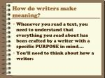 how do writers make meaning