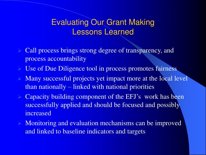 Evaluating our grant making lessons learned
