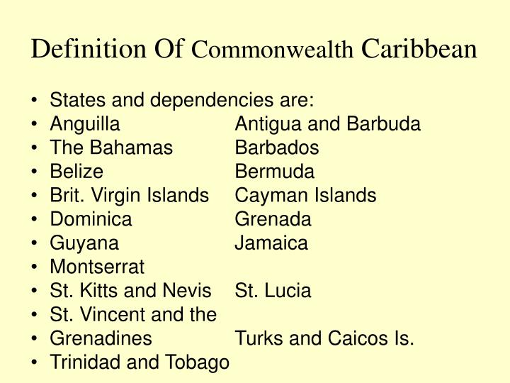 Definition of commonwealth caribbean