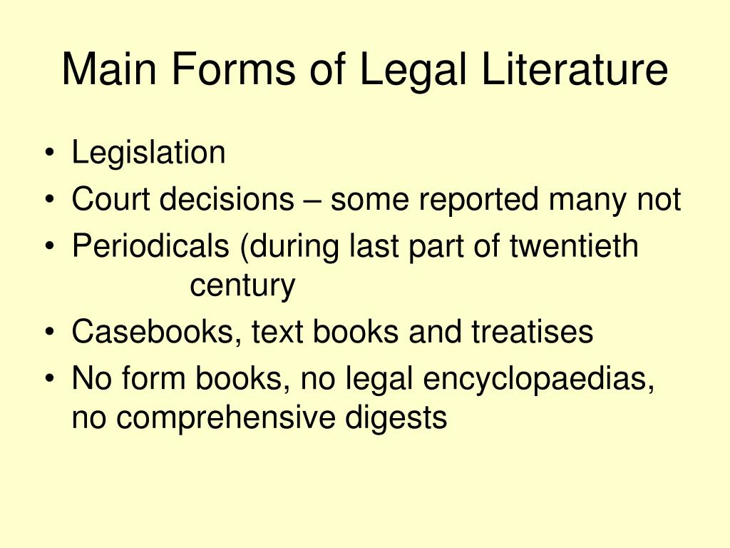 Main Forms of Legal Literature