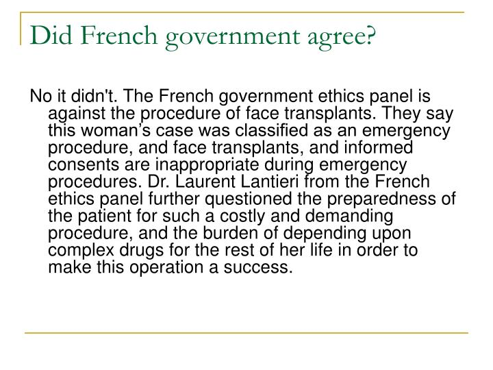 Did French government agree?