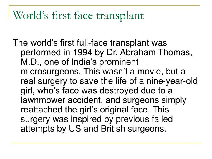 World's first face transplant