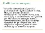 world s first face transplant