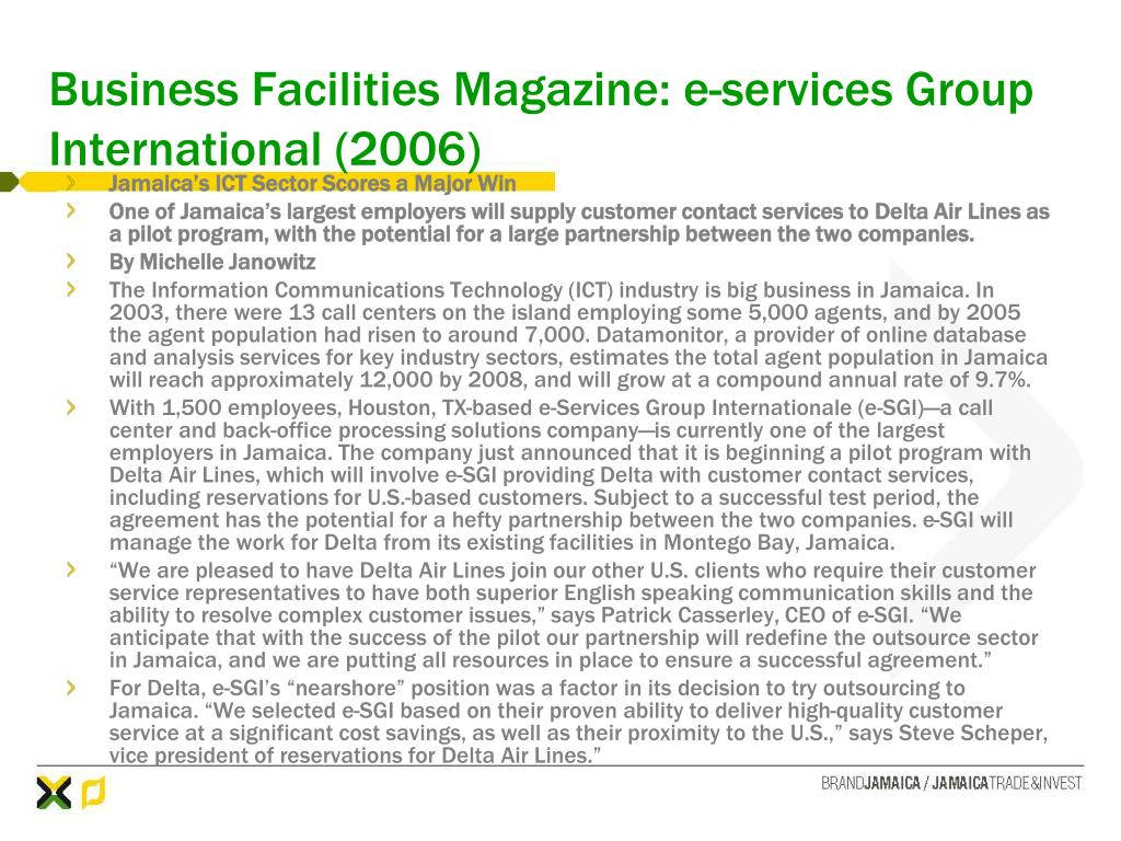 Business Facilities Magazine: e-services Group International (2006)